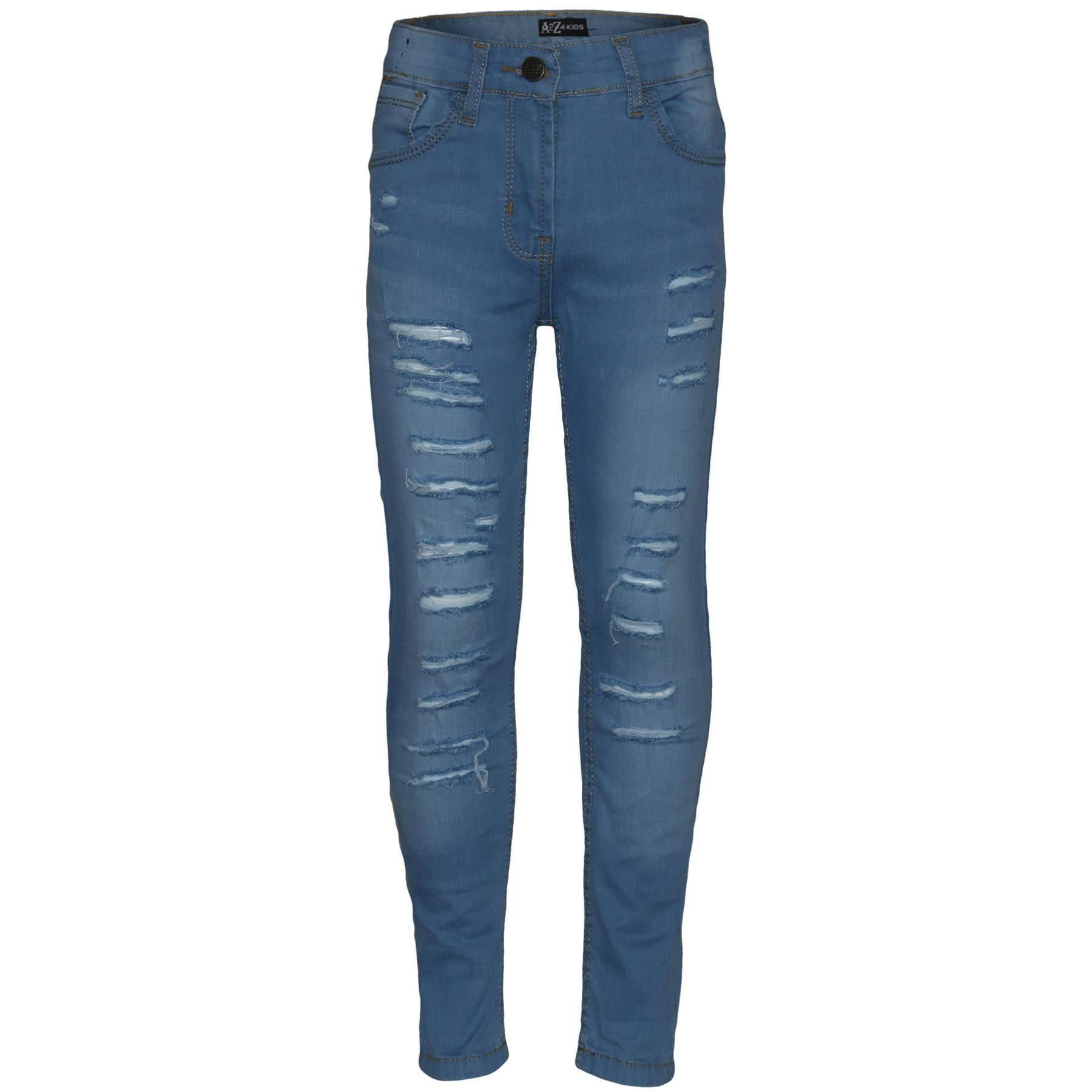 A2Z 4 Kids Kids Girls Stretchy Light Blue Denim Jeans Designers Ripped Faded Fashion Jeggings Skinny Pants Stylish Trousers New Age 5 6 7 8 9 10 11 12 13 Years