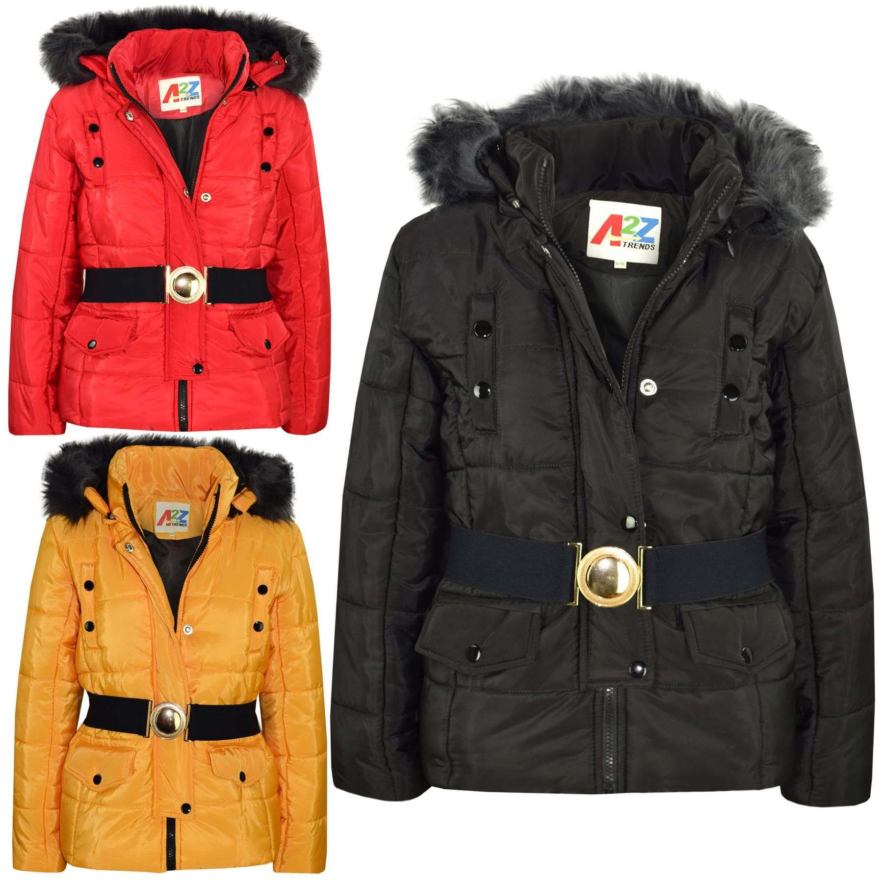 A2Z 4 Kids Kids Girls Puffer Jackets Designer Black Faux Fur Hooded Stylish Padded Zipped Belted Top Fit Jacket Warm Coats New Age 5 6 7 8 9 10 11 12 13 Years
