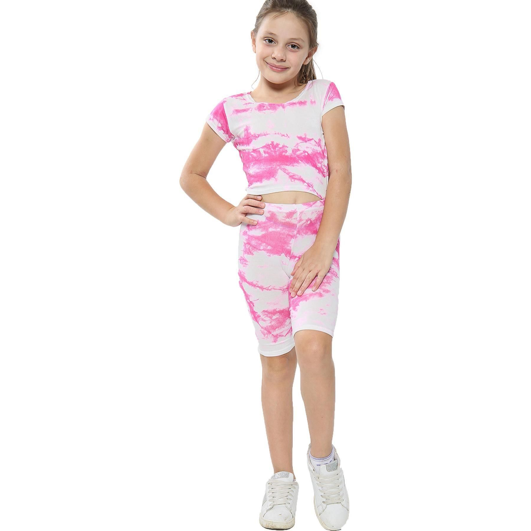 Kids Girls Crop Top /& Cycling Shorts Tie Dye Print Summer Outfit Clothing Sets