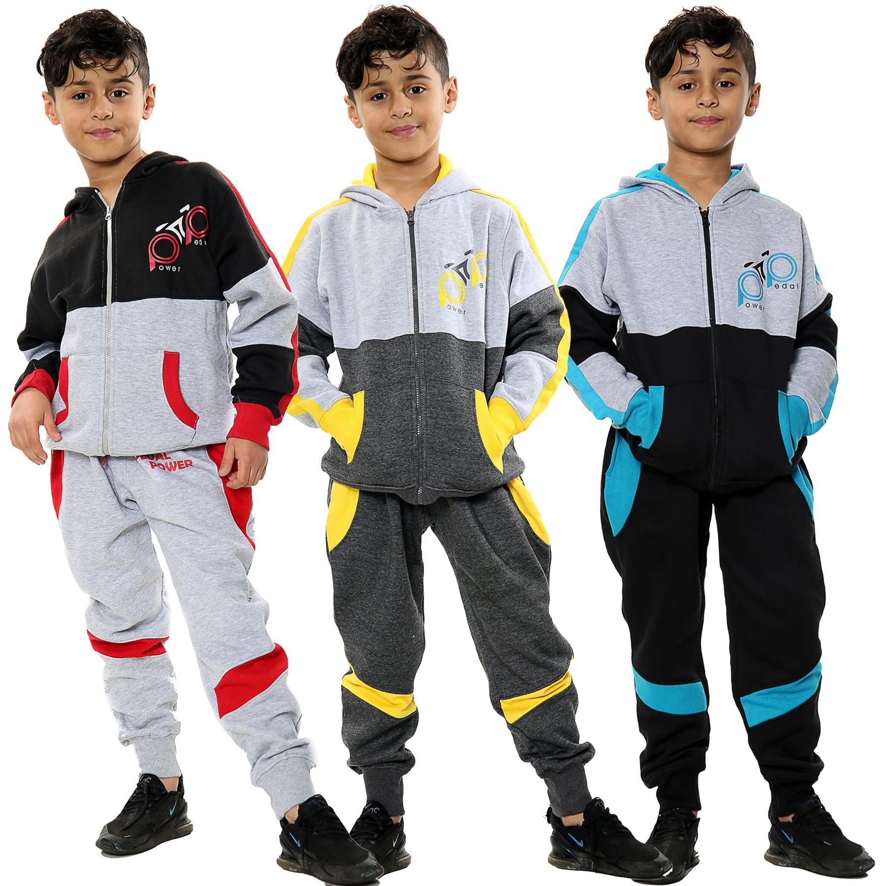 HNL Projection Boys Girls Tracksuit Hooded TOP Jogging Bottoms Kids Jogging Suits Age 5 6 7 8 9 10 11 12 13 Years Yellow