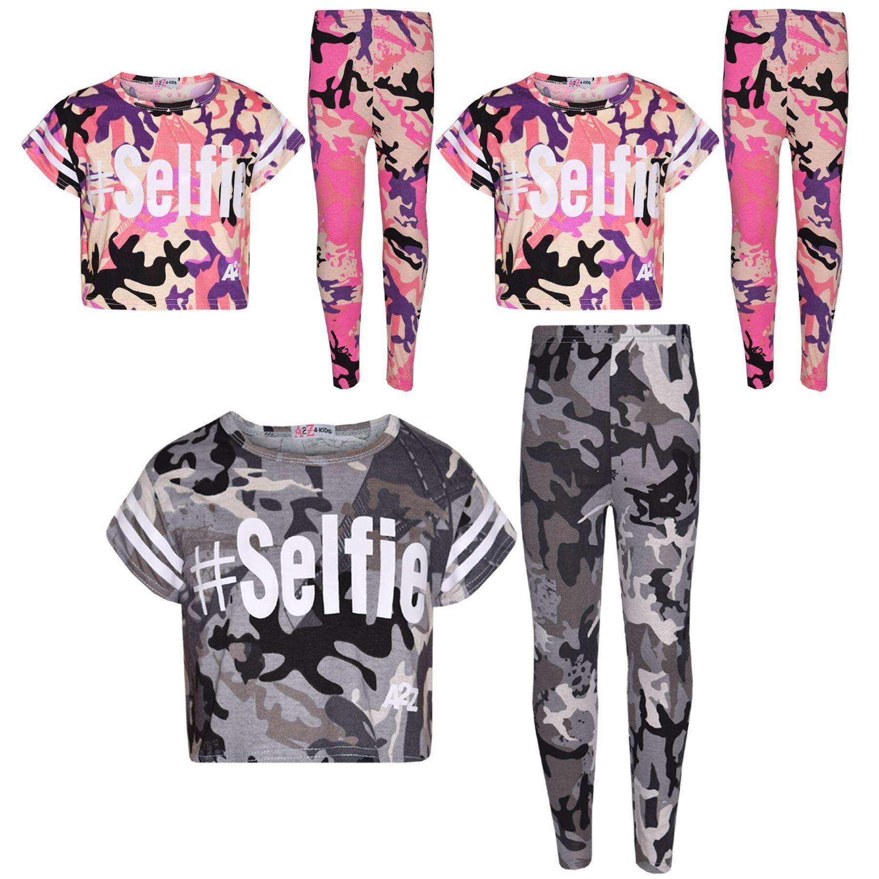 Girls Top Kids Designer/'s #Selfie Camouflage T Shirt Top /& Legging Set 7-13 Year