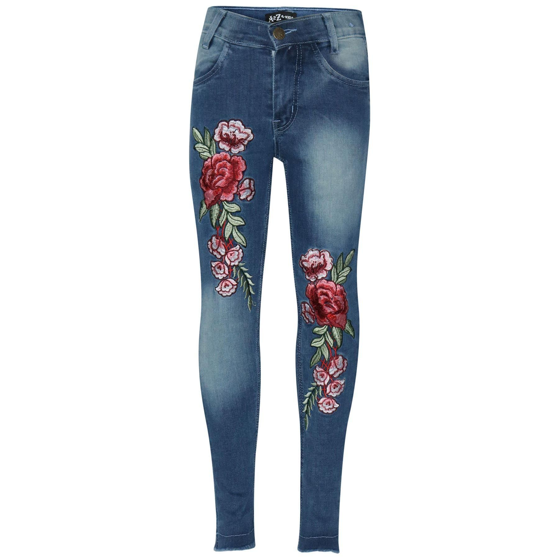 A2Z 4 Kids Kids Girls Stretchy Jeans Designers Rose Embroidered Dark Blue Denim Pants Fashion Fit Trousers Jeggings New Age 3 4 5 6 7 8 9 10 11 12 Years