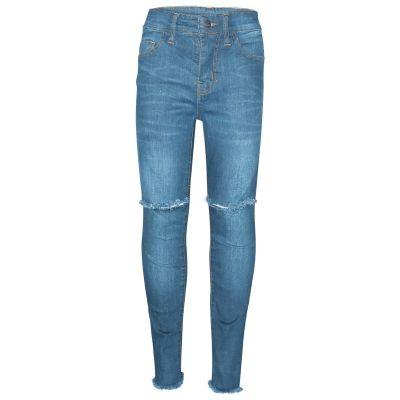 Kids Girls Stretchy Ripped Light Blue Jeans Denim Skinny Fashion Frayed Jeggings