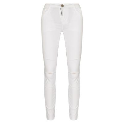 Kids Girls Stretchy Ripped White Jeans Denim Skinny Fashion Frayed Pant 3-13 Yrs