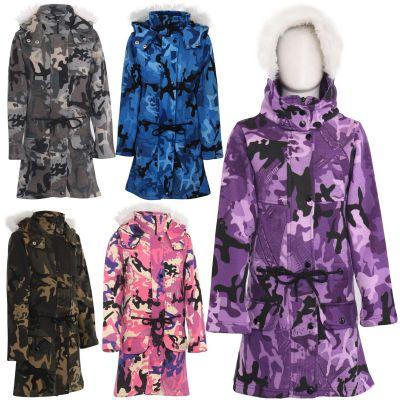 Kids Girls Hooded Jacket Faux Fur Long Parka School Jackets Outerwear Coats