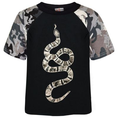 A2Z Trendz Boys T Shirts Kids Designer's 100% Cotton Green Snake Print Camouflage Contrast Panel T-Shirts Soft Feel Tee Ringspun New Age 5 6 7 8 9 10 11 12 13 Years