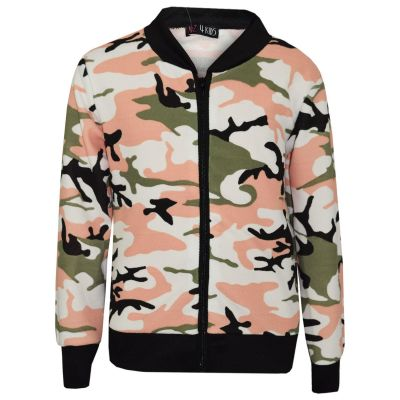 A2Z Trendz Kids Girls Jacket Designer's Camouflage Print Green Jackets Tops Zipped Fashion Coats New Age 7 8 9 10 11 12 13 Years