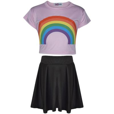 A2Z Trendz Kids Girls Crop Top & Skirt Sets Designer's Rainbow Print Baby Pink Trendy Floss Fashion Belly Shirt & Skirts Trendy T Shirt Tops Tees & Bottom Set New Age 5 6 7 8 9 10 11 12 13 Years