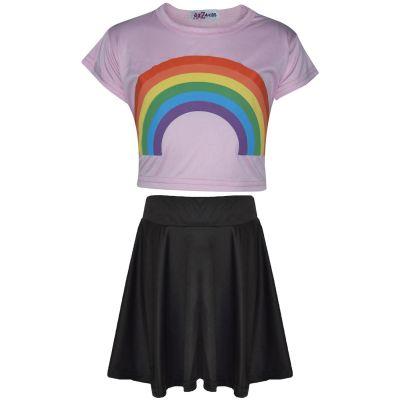 A2Z Trendz Kids Girls Crop Top & Skirt Sets Designer's Rainbow Print Baby Pink Trendy Floss Fashion Belly Shirt & Skirts Trendy T Shirt Tops Tees & Bottom Set New Age 5 6 7 8 9 10 11 12 13 Years