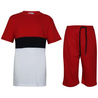 A2Z Trendz Kids Girls Boys Shorts Set 100% Cotton Contrast Panelled Red Trendy Fashion T Shirt Top & Short Pants Sportswear Gymwear Outfit Clothing Sets New Age 5 6 7 8 9 10 11 12 13 Years