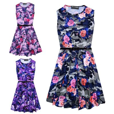 Girls Skater Dress Kids Camo Floral Print Summer Party Dresses New Age 7 8 9 10 11 12 13 Years