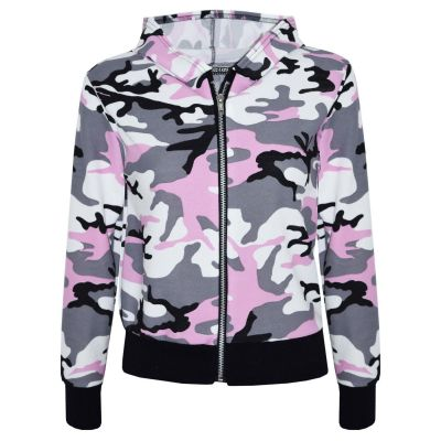 A2Z Trendz Kids Girls Jacket Designer's Camouflage Print Baby Pink Hooded Jackets Tops Zipped Coats New Age 7-13 Years