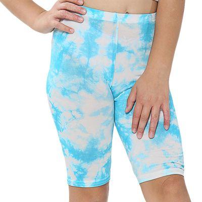 A2Z Trendz Kids Girls Cycling Shorts Tie Dye Print Blue Gym Dance Running Trendy Fashion Summer Short Knee Length Half Pant New Age 5 6 7 8 9 10 11 12 13 Years