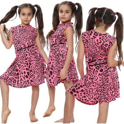 Girls Skater Dress Leopard Print Neon Pink Dance Party Summer Fashion