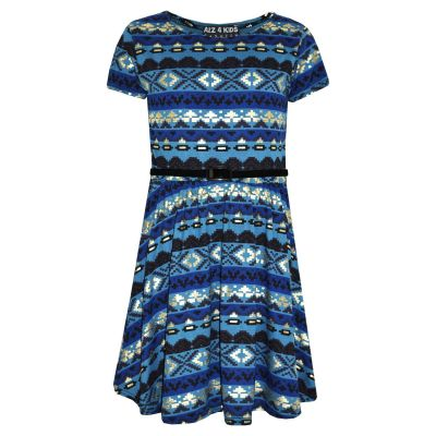 A2Z Trendz Girls Skater Dress Kids Aztec Foil Print Summer Party Dresses Age 7 8 9 10 11 12 13 Years
