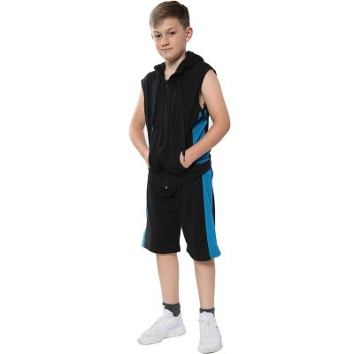 A2Z Trendz Kids Girls Boys Shorts Set 100% Cotton Contrast Panelled Black & Blue Trendy Fashion Gilet Top & Short Pants Sportswear Outfit Clothing Sets New Age 5 6 7 8 9 10 11 12 13 Years