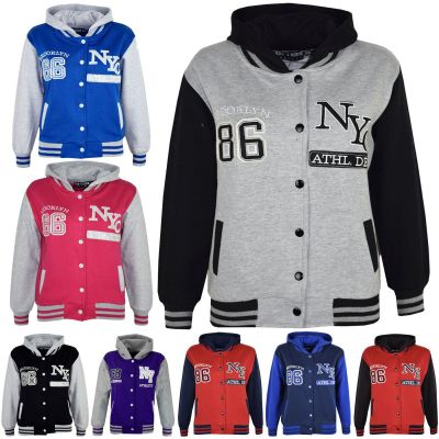 Unisex Kids Girls Boys Baseball NY ATHLATIC Hooded Jacket Varsity Hoodie New Age 7 8 9 10 11 12 13 Years