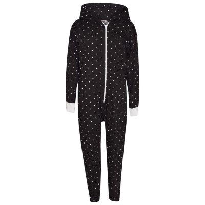 A2Z Trendz Kids Girls Boys Onesie Designer's Polka Dot Print Cotton Black Hooded Onesie All In One Jumpsuit New Age 2 3 4 5 6 7 8 9 10 11 12 13 Years