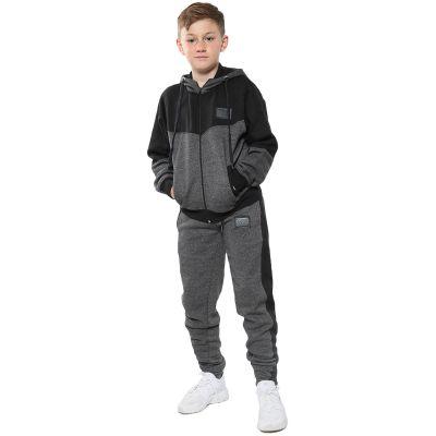 A2Z Trendz Unisex Tracksuit Kids Designer's A2Z Badged Contrast Panel Hooded - T.S 602 Charcoal 7-8