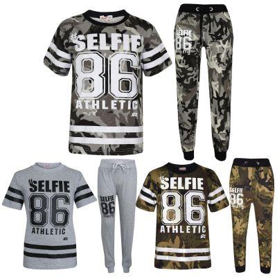 A2Z Trendz Boys Top Kids Designer's #Selfie 86 Athletic Camouflage Print T Shirt Tops & Trouser Set Age 7 8 9 10 11 12 13 Years