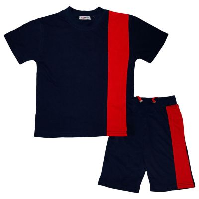A2Z Trendz Kids Boys T Shirt Shorts 100% Cotton Contrast Panelledled Summer Outfit Trendy Fashion Summer Navy Top Short Set New Age 5 6 7 8 9 10 11 12 13 Years