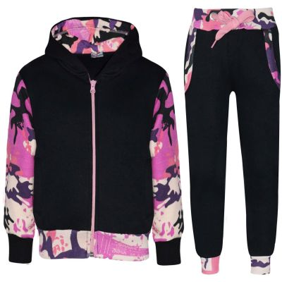A2Z Trendz Kids Girls Tracksuit Designer Plain Contrast Black & Camouflage Baby Pink Fleece Hooded Hoodie Bottom Jogging Suit Joggers Age 2 3 4 5 6 7 8 9 10 11 12 13 Years