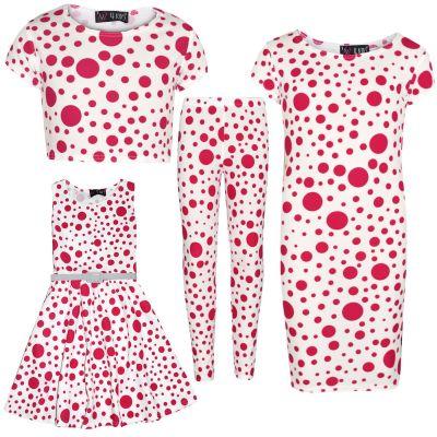 A2Z Trendz Girls Dresses Kids Designer's Pink Polka Dot Print Crop Top Legging Midi Dress Skater Dress Age 7 8 9 10 11 12 13 Years