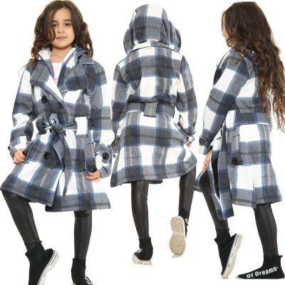 Kids Girls Hooded Trench Coat Fashion Warm Navy Check Jacket Oversized Lapels Belted Cuffs Long Overcoat.