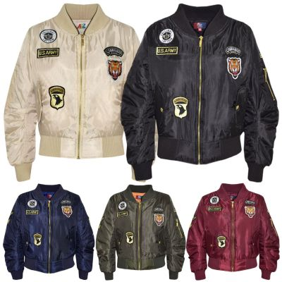 A2Z Trendz Kids Jacket Girls Boys Badges Print Bomber Padded Zip Up Biker Jacktes MA 1 Coat Age 3 4 5 6 7 8 9 10 11 12 13 Years