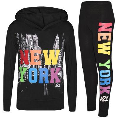 Girls New York Hooded Crop & Legging Set
