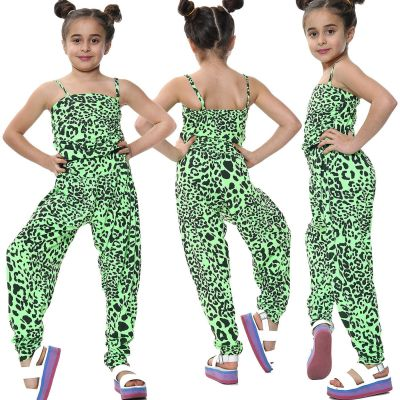 Kids Girls Jumpsuit Leopard Print Neon Green Trendy Fashion All In One Playsuits