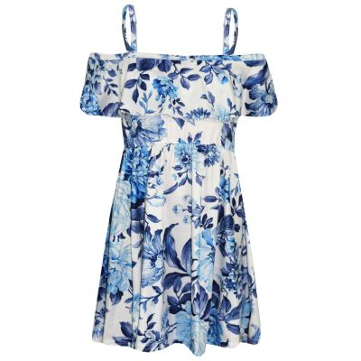 A2Z Trendz Girls Skater Dress Kids Blue Floral Print Summer Party Fashion Off Shoulder Dresses New Age 7 8 9 10 11 12 13 Years