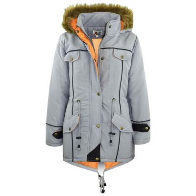 Kids Girls Jacket DESIGNER'S Silver Parka Coat Faux Fur Hooded Top Christmas Gift New Age 3-13 Years