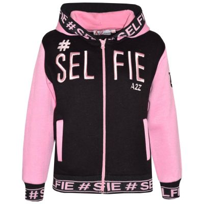 A2Z Trendz Kids Girls Jackets Designer's #Selfie Embroidered Fashion Baby Pink Zipped Top Hooded Hoodie Stylish Coat Age 5 6 7 8 9 10 11 12 13 Years