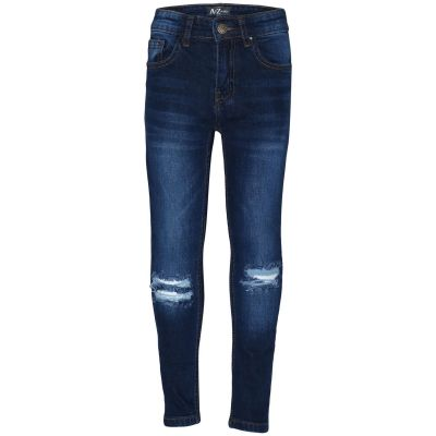 A2Z Trendz Kids Boys Skinny Jeans Designer Dark Blue Denim Knee Ripped Fashion Bikers Pants Stylish Faded Bottom Slim Fit Adjustable Waist Trousers New Age 5 6 7 8 9 10 11 12 13 Years