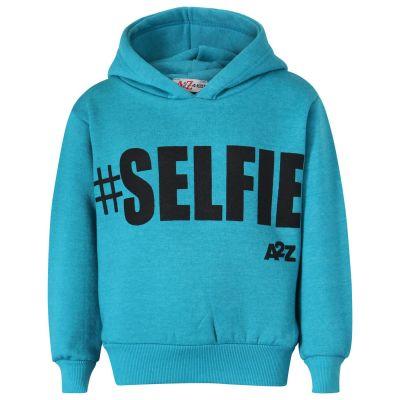 Girls #Selfie Print Aqua Hooded Hoodie