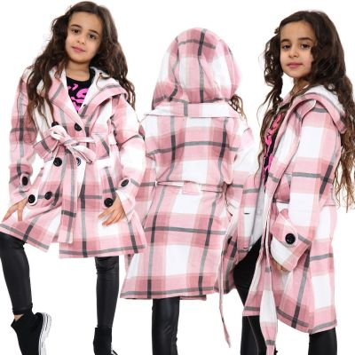 Kids Girls Hooded Trench Coat Fashion Warm Pink Check Jacket Oversized Lapels Belted Cuffs Long Overcoat.