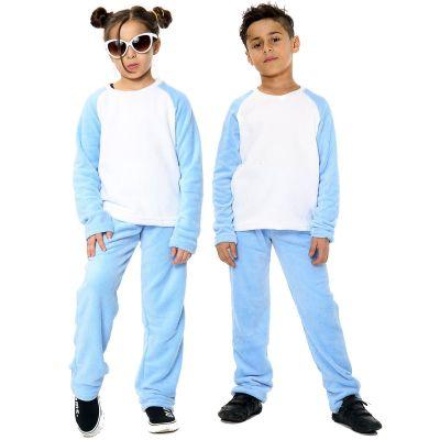 Kids Girls Boys Plain Pyjamas Blue Loungewear Flannel Fleece Nightwear PJS.
