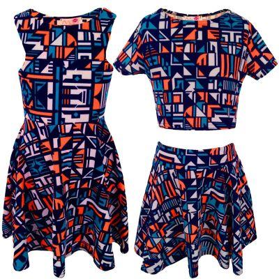 Kids Girls Orange & Blue Aztec Print Skater Skirt Midi Dress Crop Top Legging New Age 7-13 Years