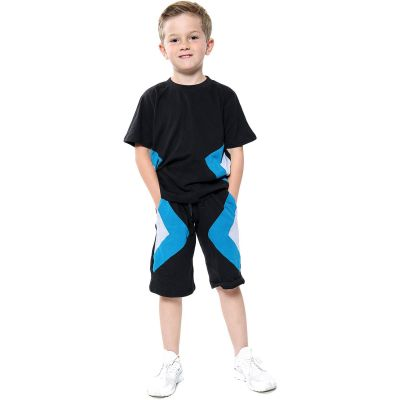 A2Z Trendz Kids Girls Boys Shorts Set 100% Cotton Contrast Panelled Black Trendy Fashion Summer T Shirt Top & Short Pants Gymwear Outfit Clothing Sets Age 5 6 7 8 9 10 11 12 13 Years