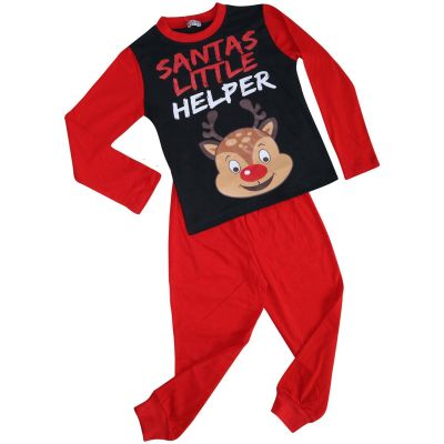 A2Z Trendz Kids Girls Boys Pyjamas Santas Little Helper Reindeer Print Stylish Red Contrast Sleeves Pajamas Xmas Set New Age 2 3 4 5 6 7 8 9 10 11 12 13 Years