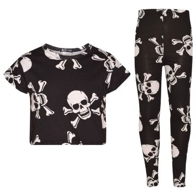 A2Z Trendz Girls Tops Kids Designer's Skull Cross Bones Print Crop Top & Legging Set Halloween Costume Age 7 8 9 10 11 12 13 Years