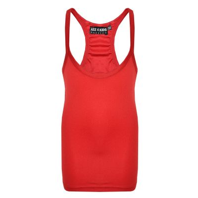 A2Z Trendz Kids Girls Racer Back Vest Top Designer's Red Fashion Tank Tops T Shirts New Age 5 6 7 8 9 10 11 12 13 Years