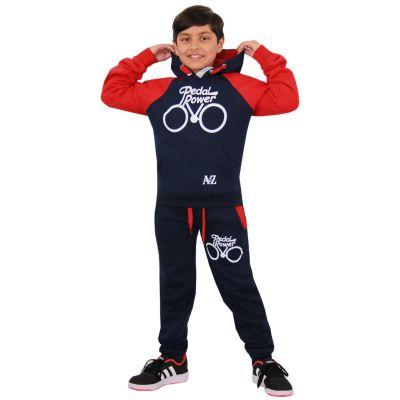 A2Z Trendz Kids Tracksuit Boys Girls Designer's Navy & Red Pedal Power Print Hoodie & Botom Jogging Suit Joggers 5 6 7 8 9 10 11 12 13 Years