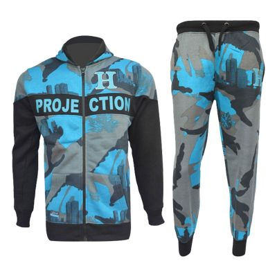 A2Z Trendz Kids Boys Girls Tracksuits HNL Blue Camouflage Hoodie Top & Bottom Pullover Gym Wear Jogging Suits Outfit Joggers New Age 7 8 9 10 11 12 13 Years