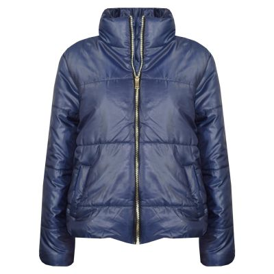 Girls Wet Look Padded Navy Puffer Bubble Jackets