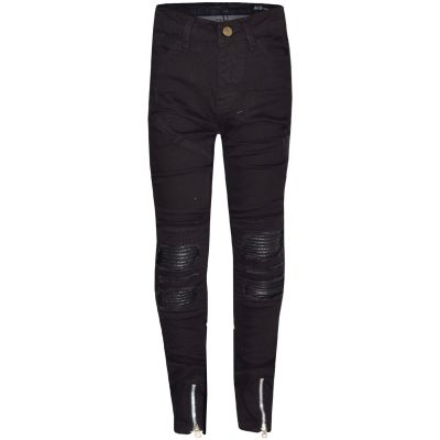 A2Z Trendz Kids Girls Stretchy Jeans Designer's Jet Black Ripped Knee Drape Panel Denim Pants Fit Trousers New Age 5 6 7 8 9 10 11 12 13 Years