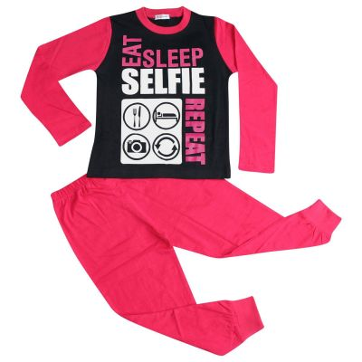 A2Z Trendz Kids Girls Pajamas Designer's Eat Sleep Selfie Repeat Print Cotrast Sleeves Pink Stylish Pyjamas Loungewear Nightwear PJS New Age 2 3 4 5 6 7 8 9 10 11 12 13 Years