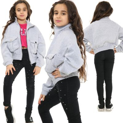 Kids Girls Plain Zip Up Cropped Jackets Grey Fleece Stylish Utility Pockets Jackets Fashion Thick Coats.