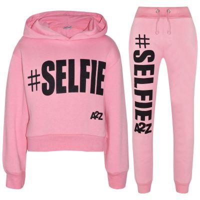 A2Z Trendz Kids Girls Tracksuit Designer #Selfie Print Hooded Crop Top Bottom - T.S Crop #Selfie Baby Pink_2-3
